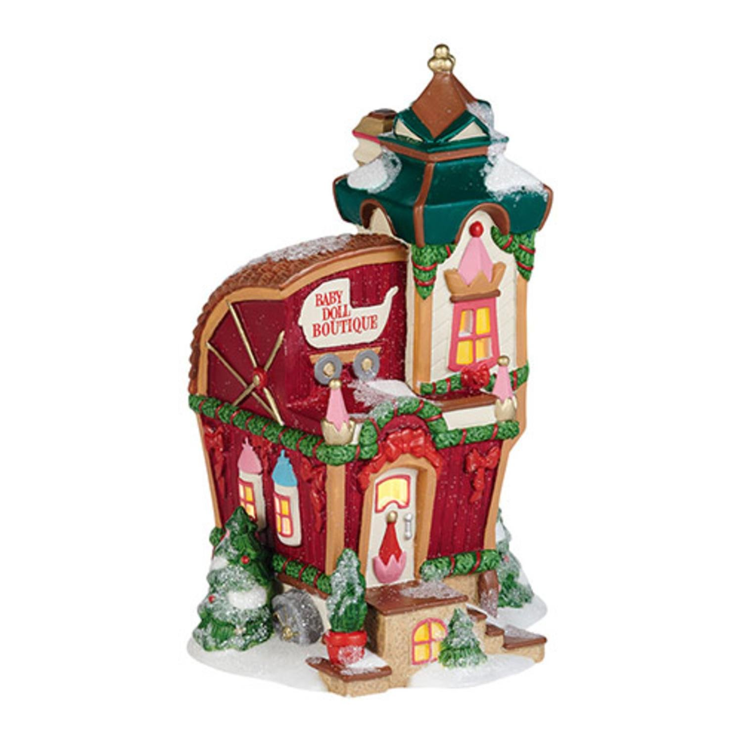 Department 56 North Pole Toy Land ''North Pole Baby Doll Boutique'' Porcelain Lighted Building