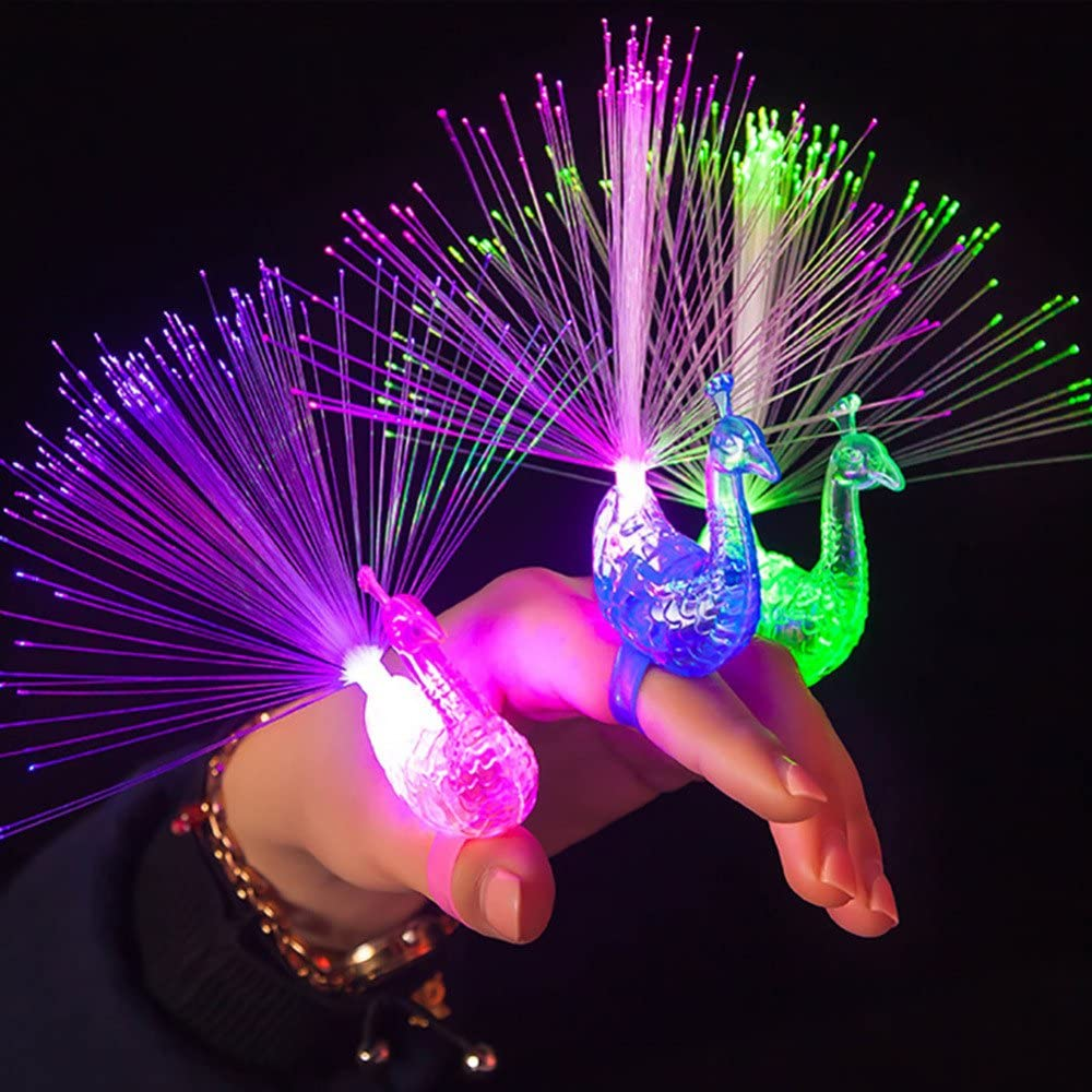 OWIKAR 12Pcs LED Finger Light Ring Creative Colorful Peacock Finger Lights for Parties Cheering Novelty Glowing Toys Gifts for Kids Concert Props Wedding Festival Party Decor