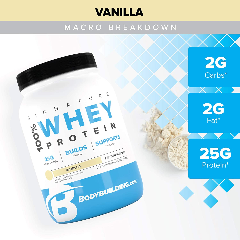 Bodybuilding Signature 100% Whey Protein Powder | 25g of Protein per Serving (Vanilla, 5 Lbs)
