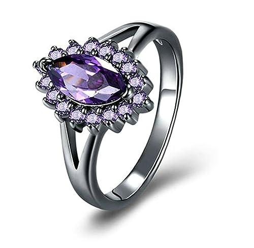 Adisaer mujeres anillos negro piedra corte marquise CZ chapado en oro con alrededor de bandas de anillos de boda para novia: Amazon.es: Joyería