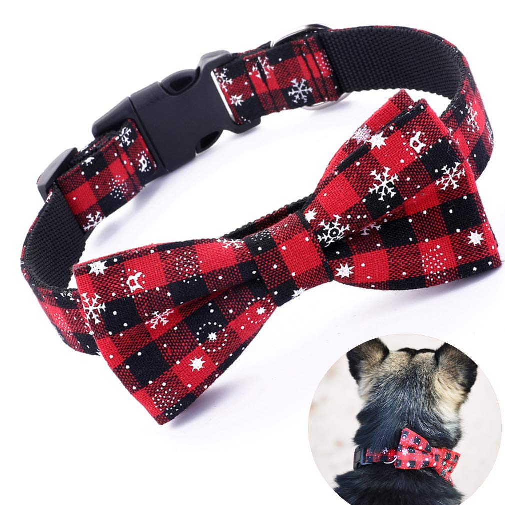 Large (Neck 15-24 inch& xFF09; Trasen Pet Dog Collar Adjustable Christmas Snowflake Pattern with Detachable Bow Tie Neck 14  24 inch Fit for Medium Large Dogs (Large (Neck 15-24 inch)