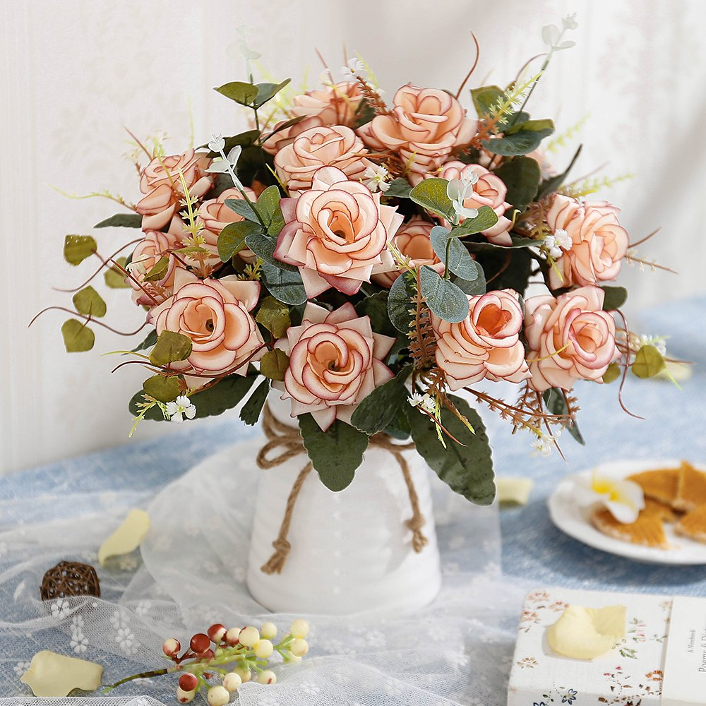 Amazon Yiliyajia Artificial Rose Bouquets With Ceramics Vase