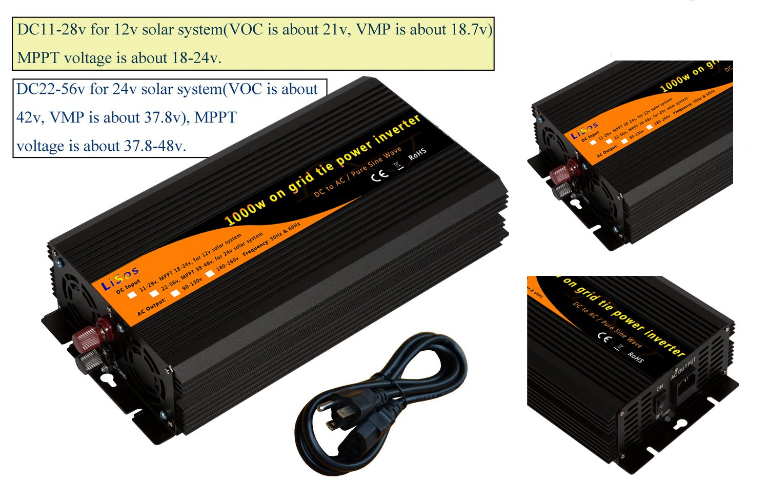 1000w on Grid Tie Pure Sine Wave Power Inverter DC11-28v to AC90-130v by LiSos