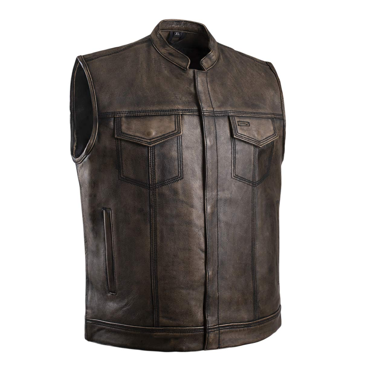 2XL Gray Distressed Top Quality Genuine Leather Mens Motorcycle Riders Vest