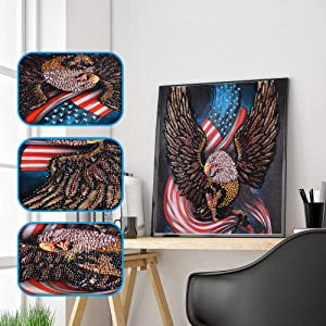 Amersin DIY 5D Special Shaped Diamond Painting by Number Kits, Full Drill Rhinestone Embroidery Cross Stitch Pictures for Christmas Home Decor (Eagle 1)
