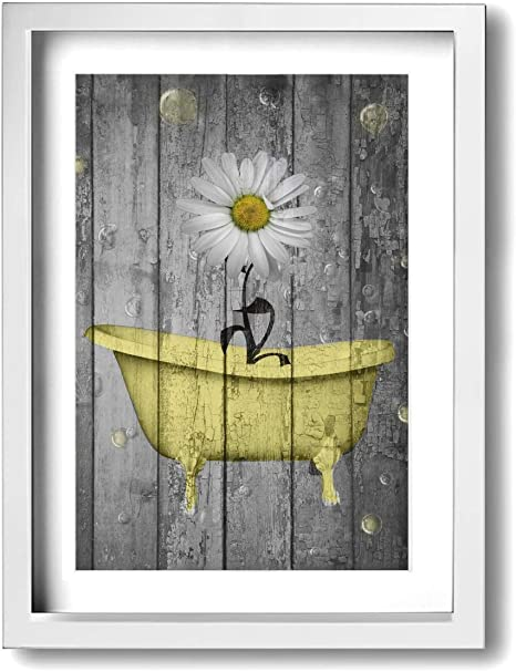 Amazon Com Ale Art Rustic Picture Frame Bathroom Wall Art Daisy Flower Bubbles Yellow Gray Vintage Rustic Bath Wall Art Ready To Hang For Wall Decor 9 X 13 Posters Prints