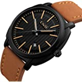CIVO Mens Watches Luxury Calendar Date Waterproof Wrist Watch Gents Business Casual Fashion Simple Design Dress Analogue Quartz Watches with Genuine Leather Band Black Dial