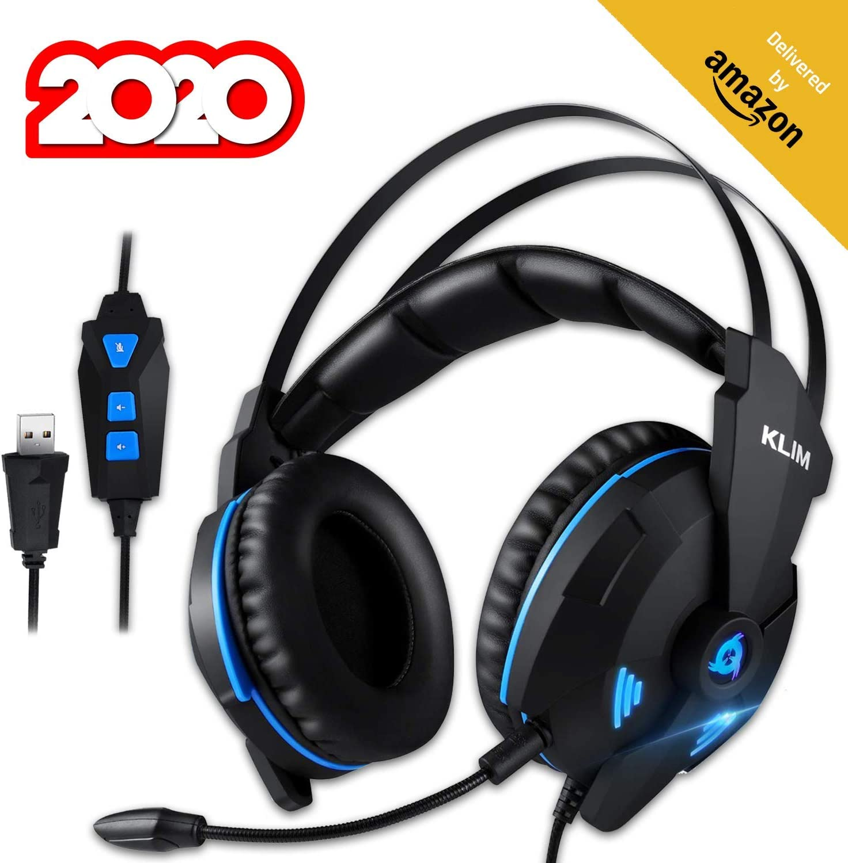 KLIMTM Impact V2 Cascos Gaming USB - Sonido Envolvente 7.1 + Aislante de Ruidos - Audio de Alta Definición + Potentes Bajos - Auriculares de Diadema con Micrófono para Videojuegos PC PS4 Versión 2020