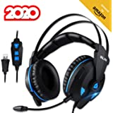 KLIM Impact - USB Gaming Headset - 7.1 Surround Sound + Noise Cancelling - High Definition Audio + Strong Bass - Video Games Headphones Audifonos with Microphone for PC Gamer PS4 - Noise Cancelling