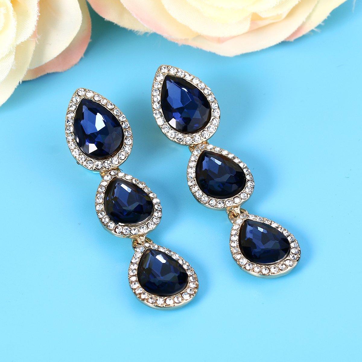 b19119f20 EleQueen Womens Austrian Crystal Teardrop Pear Shape 2.4 Inch Long Clip-on Dangle  Earrings 16001668-10ca ...