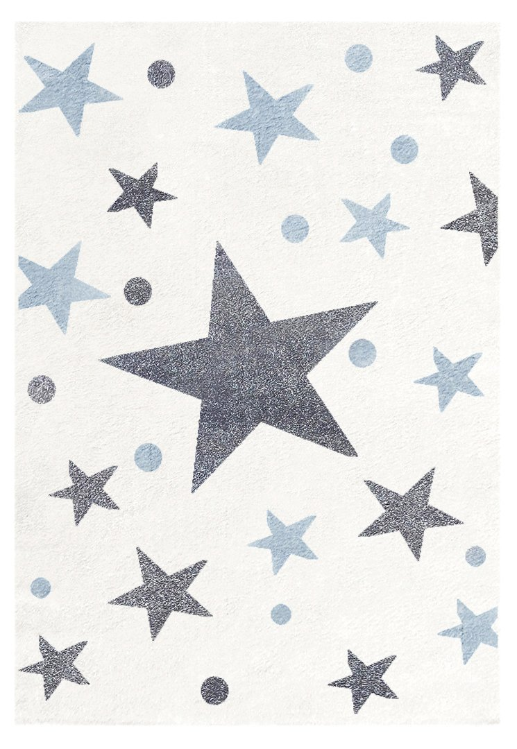 Livone Kinderteppich Happy Rugs Stars Creme Silbergrau-blau 100x160 cm