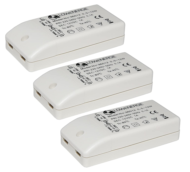 3 Pack Lowenergie 12w LED Driver Transformer 240V AC to 12V DC for LED Lighting