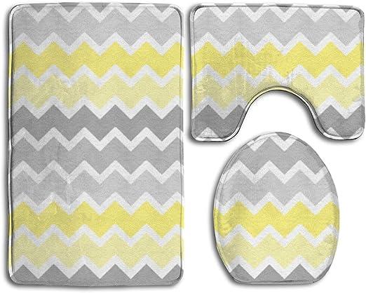 Amazon.com: Bathroom Rug Mats Set 3pcs Yellow Grey Gray Ombre Non