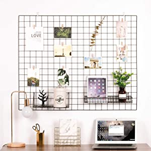 "Kaforise Vinyl Dipped Wire Wall Grid Panel, Multifunction Photo Hanging Display and Wall Storage Organizer, Pack of 1, Size 39.4"" X 31.5"", Black"