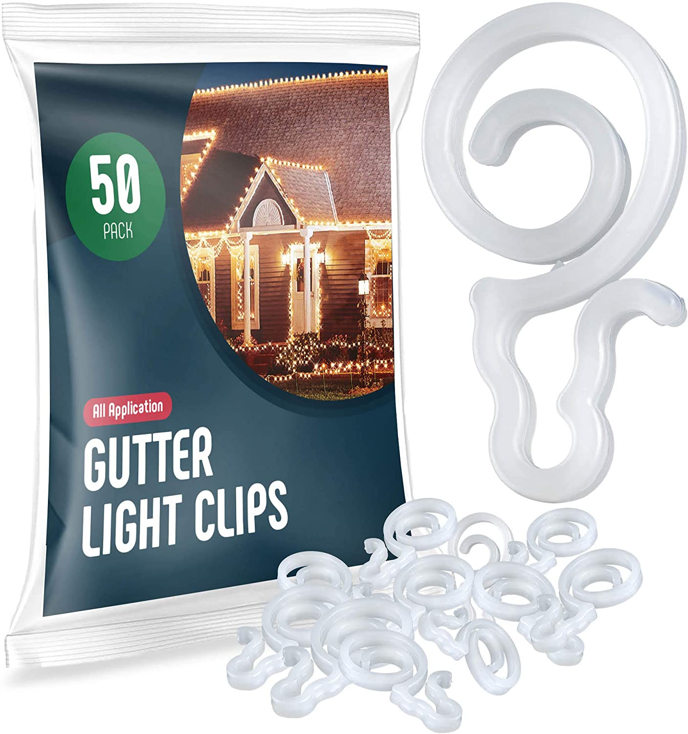 Holiday Light Clips [Set of 50] Gutter Light Clips, Hang By Cord All Type Outdoor Lights C5, C6, C7, C9, Mini, Icicle, Rope Lights. Christmas Light Clips Outdoor - No Tools Required - USA Made