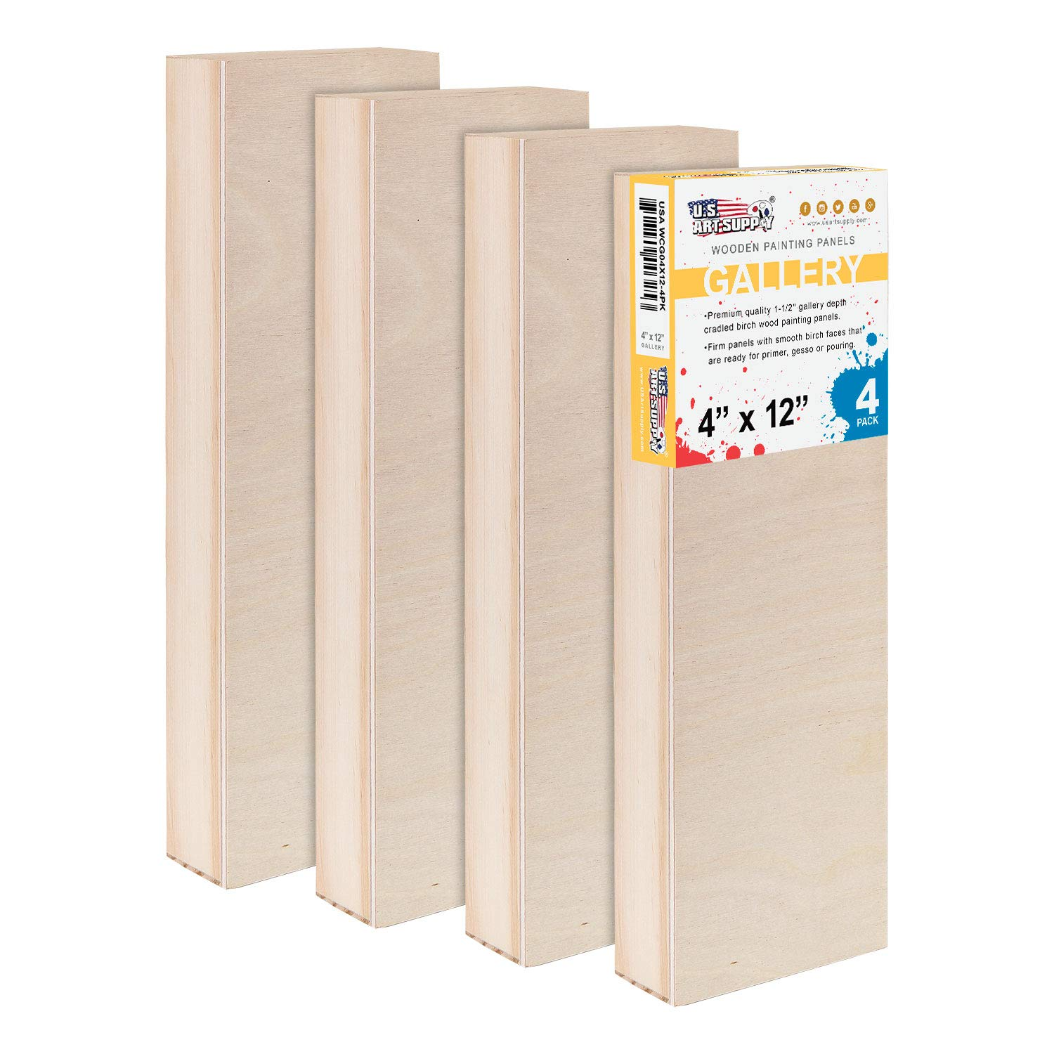 U.S. Art Supply 4'' x 12'' Birch Wood Paint Pouring Panel Boards, Gallery 1-1/2'' Deep Cradle (Pack of 4) - Artist Depth Wooden Wall Canvases - Painting Mixed-Media Craft, Acrylic, Oil, Encaustic by US Art Supply