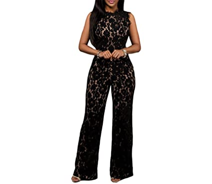 106f478a56 Image Unavailable. Image not available for. Color: Soto6ro Black Lace  Jumpsuit Long Pants Women Rompers ...