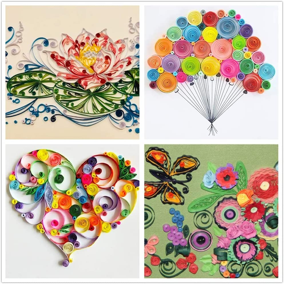 PH PandaHall 1200 Strips Paper Quilling Strips Coral Quilling Strip Set 3mm Width 39cm Length
