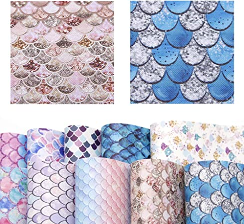 Mermaid Scale Printed Faux Leather Fabric 10PCSSET,Cricut Leather Sheets For Earrings,Patterned Craft Vinyl Leather