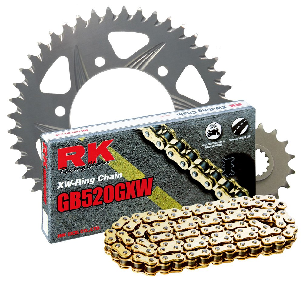 RK Racing Chain 3076-008RG Silver Aluminum Rear Sprocket and GB520GXW Chain 520 Race Conversion Kit
