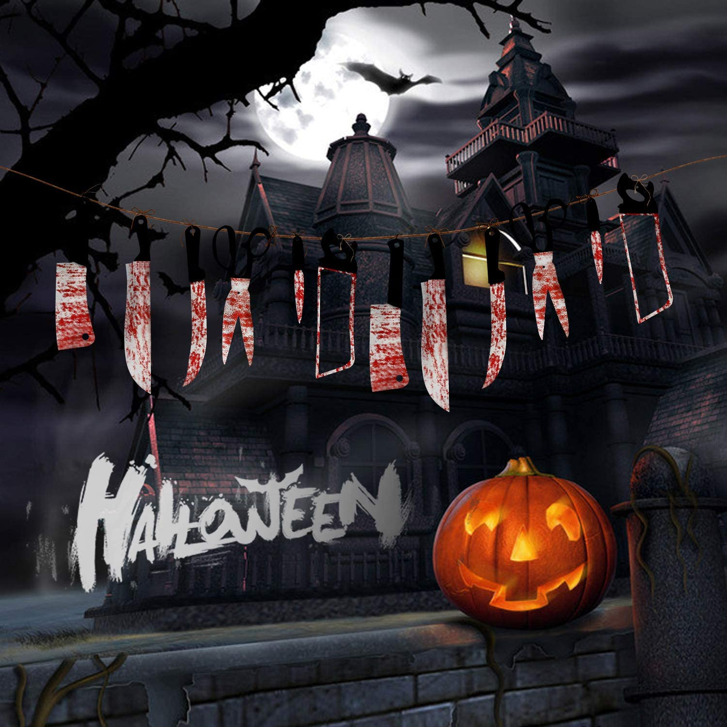 Ideal for Halloween Zombie Vampire Party Decorations Supplies Innens Halloween Decorations 2 Set Bloody Horror Weapon Banner