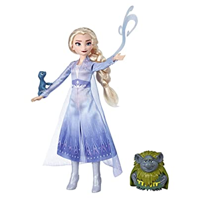 Disney Frozen Elsa Fashion Doll in Travel Outfit Inspired by Frozen 2 with Pabbie & Salamander Figures: Toys & Games