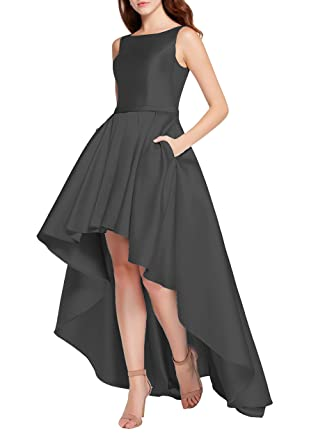 YORFORMALS Scoop Neck High Low Satin Evening Prom Dress Formal Gown Long With Pockets Size 2