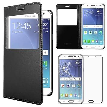 ebestStar - Compatible Funda Samsung J5 Galaxy SM-J500F (2015) Carcasa Ventana Vista Cover Cuero PU, Funda Libro Billetera, Negro +Cristal Templado ...