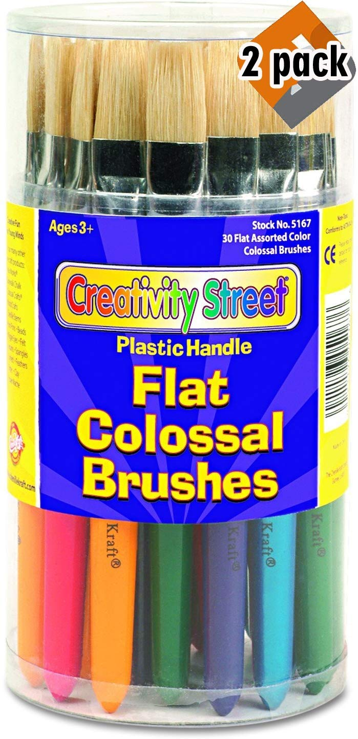 Creativity Street 5167 Colossal Brush, Natural Bristle, Flat (Set of 30) - 2 Pack by Chenille Kraft