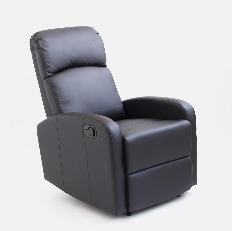 Astan Hogar Sillón Relax Con Reclinación Manual, Tapizado en PU Anti-Cuarteo. Modelo Premium AH-AR30600NG, Negro,
