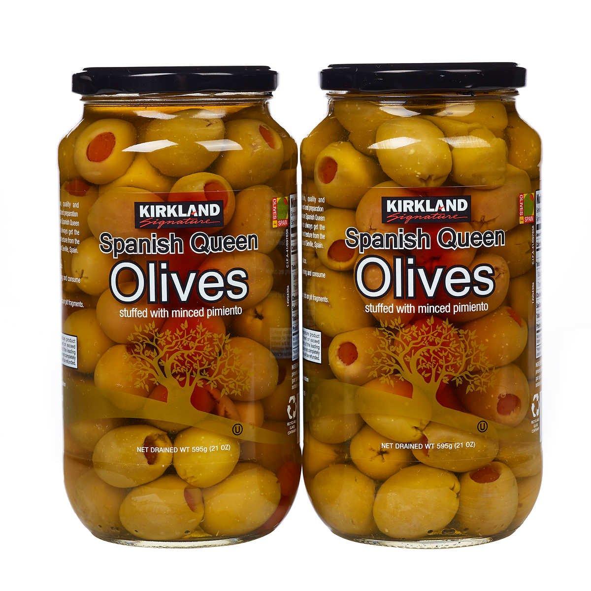 Kirkland Signature Pimento Stuffed Spanish Queen Olives 21 oz. Jars x 2 Jars