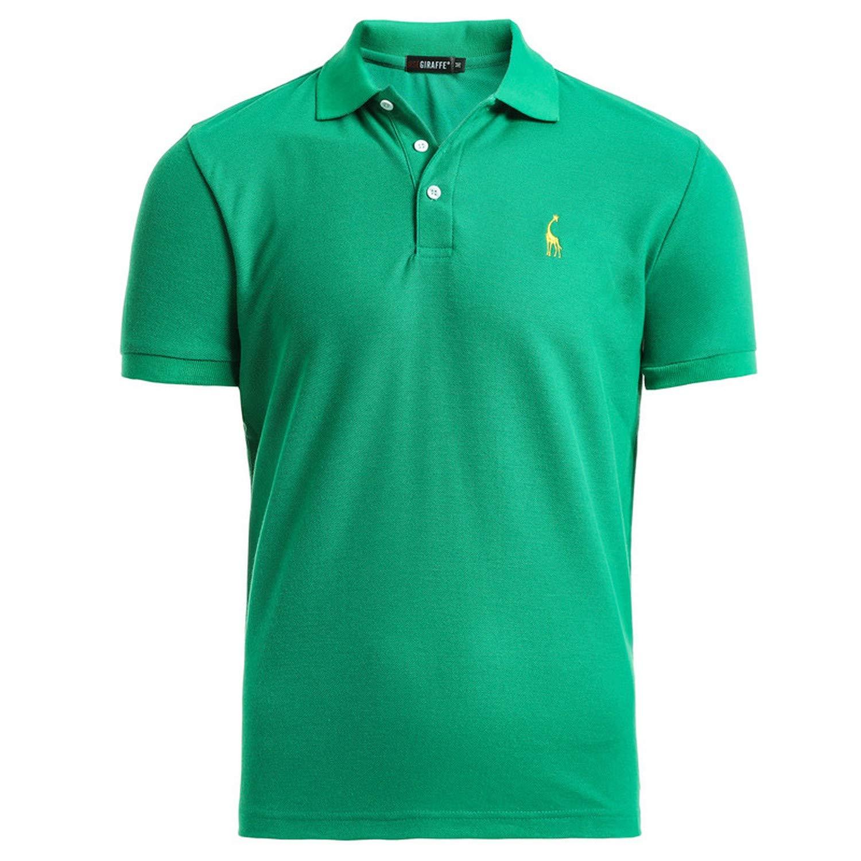EspTmall New Man Polo Shirt Mens Casual Deer Embroidery Cotton Polo Shirt Men Short Sleeve High Quantity Polo Men