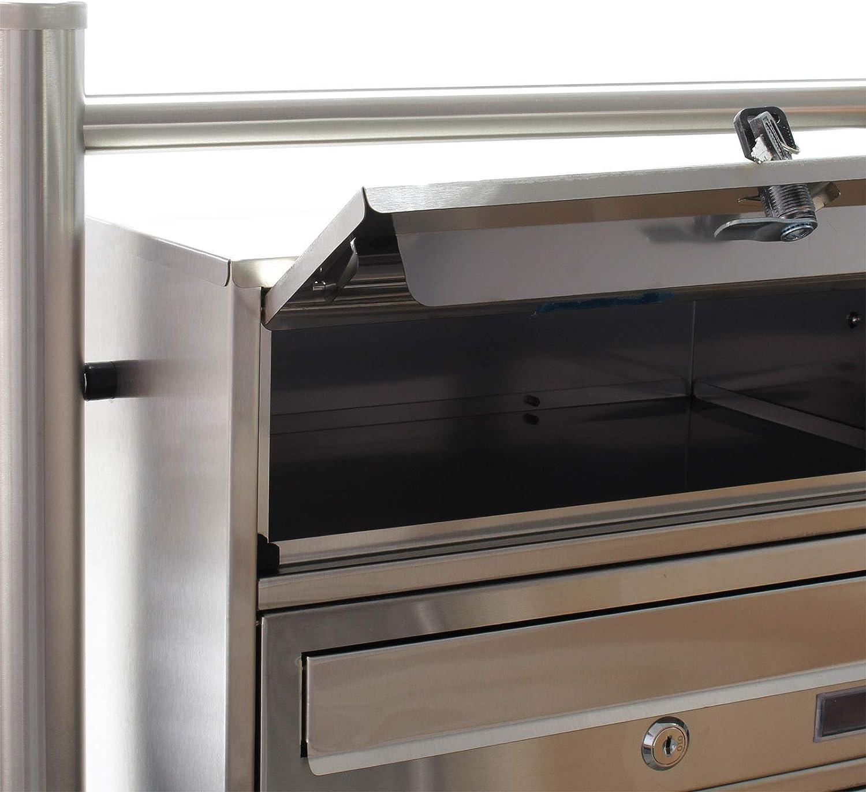 4er Briefkastenanlage Edelstahl Postfach 4 Brieff/ächer Standbriefkasten Postkasten