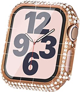 Surace Compatible with Apple Watch Case 40mm for Apple Watch Series 6/5/4/3/2/1, Bling Cases with Over 200 Crystal Diamond Protective Cover Bumper for 38mm 40mm 42mm 44mm (40mm, Rose Gold)