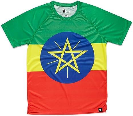 HOOPOE Camiseta Atletismo Etiopia Hombre, Manga Corta, Running, Gimnasio #AdisaBeba Talla L: Amazon.es: Deportes y aire libre