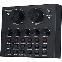 Placa de som externa Zwbfu V8 com microfone, entrada USB compatível com interface de áudio de computadores e celulares…