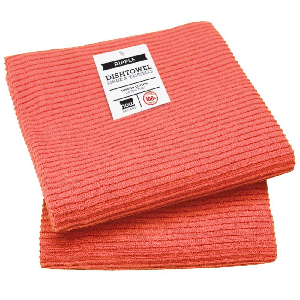 Now Designs Ripple Kitchen Towel, Set of 2, Tangerine