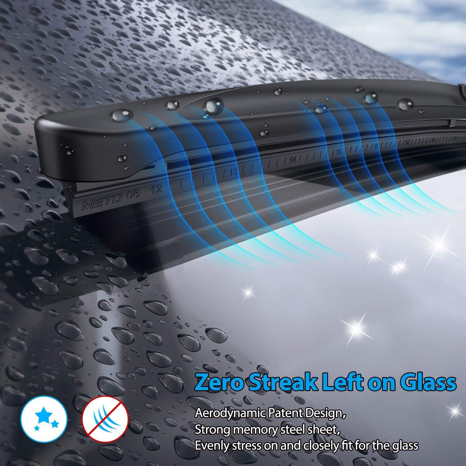 METO T6 20 Windshield Wiper : Water Repellency Polymer Materials Silence Blade METO T6 20 Windshield Wiper : Water Repellency Polymer Materials Silence Blade for All Season even Clean Ice /& Snow in Winter Pack of 1 Up to 60/% Longer Life Wiper Blade