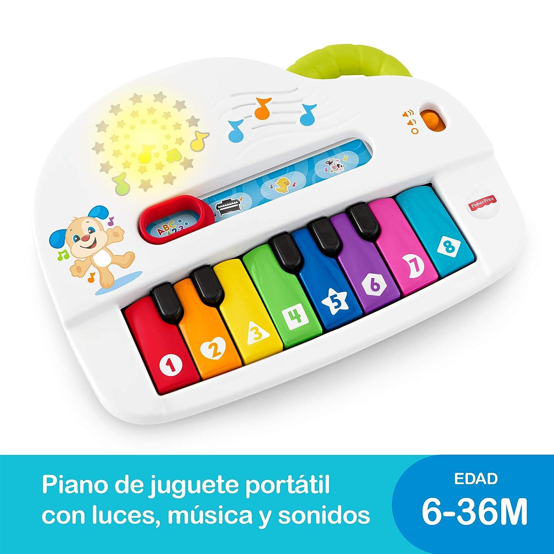 Fisher-Price Piano juega y aprende, juguete musical para bebé +6 meses (Mattel GFK00)