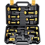 Magnetic Screwdriver Set 10 PCS, CREMAX Professional Cushion Grip 5 Phillips and 5 Flat Head Tips Screwdrivers with Case Non-