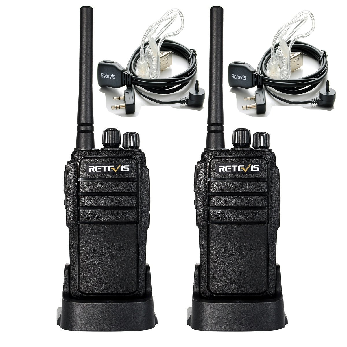 Retevis RT21 Two Way Radio UHF 16 CH 2 Way Radio VOX Scrambler Walkie Talkies Rechargeable(1 Pair) with Covert Air Acoustic Earpiece(2 Pack)