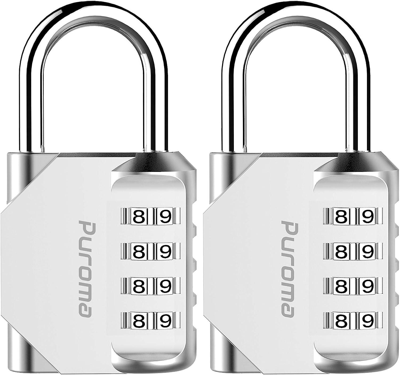 Puroma 2 Pack Combination Lock 4 Digit Outdoor Waterproof Padlock for School Gym Locker, Sports Locker, Fence, Toolbox, Gate, Case, Hasp Storage (Silver): Home Improvement