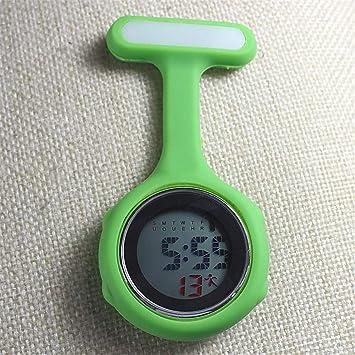 su Mujeres Relojes De Enfermera Digital, Luces De Noche Relojes Unisex Multifunción Siliconas Enfermeras/Broche / Túnica/Bolsillo / Mosquetón Reloj,Green: ...