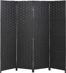 Vnewone RoomDividersandFoldingPrivacyScreens Curtain Partition Wall 4 Panel 6 ft Foldable Portable Handwork Wood Mesh Woven Design Freestanding Wooden Separator, Black
