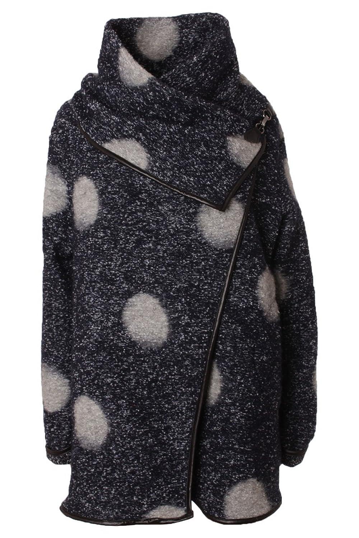 Wollmantel Wintermantel im Oversize Style mit Punkte Muster