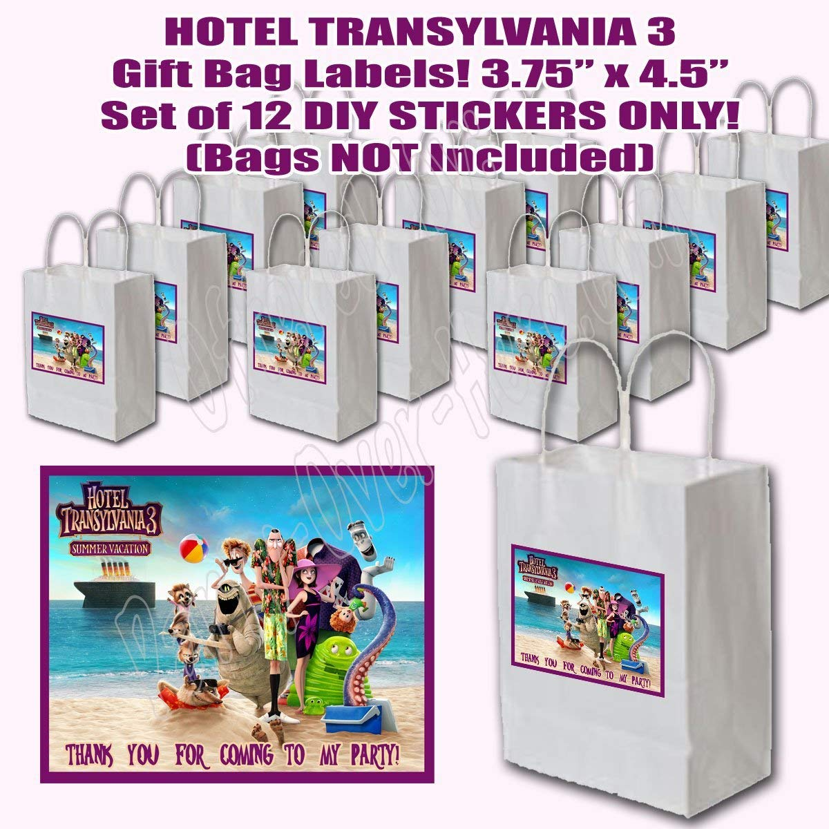 Hotel Transylvania 3 Stickers ONLY Party Favors Supplies Decorations Gift Bag Label Stickers [Bags NOT Included] 3.75'' x 4.75'' -12 pcs, Summer Vacation