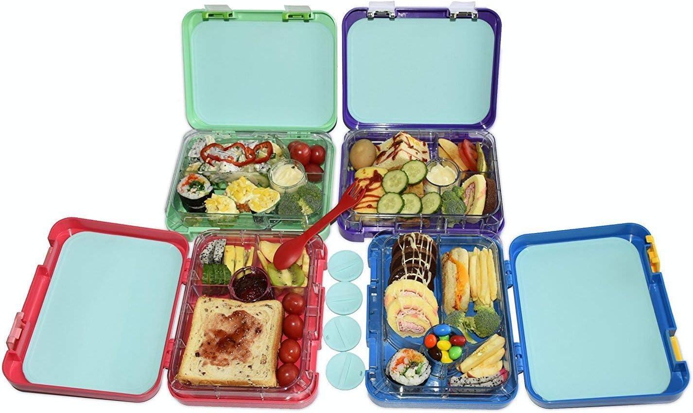 con Spork,rosa ni/ñas a prueba de fugas Cajas de almuerzo Bento de 4 compartimentos aptas para microondas Fiambrera para la escuela para los adolescentes ni/ños