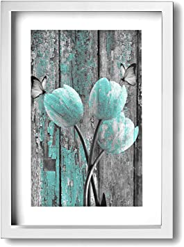 Amazon Com Okoart Canvas Wall Art Prints Teal Gray Rustic Tulip