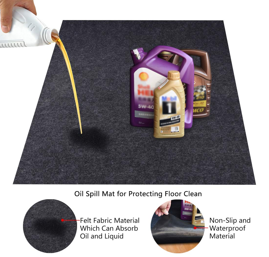 KALASONEER Oil Spill Mat,Absorbent Oil Mat Reusable Washable,Contains Liquids, Protects Driveway Surface,Garage or Shop,Parking,Floor(36inches x 72inches)
