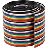 VIPMOON 1M 1.17mm 40PIN Dupont Wire Flat Multicolored Flexible Rainbow Ribbon Jumper Cable